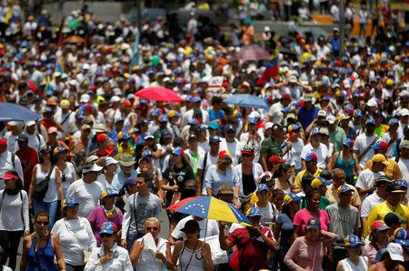 Opposition demonstrators rally against Venezuela's President Nicolas Maduro in Caracas