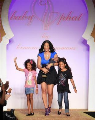 Designer Kimora Lee Simmons and her children during New York Fashion Week, September 15, 2009.