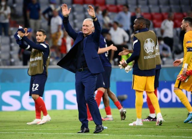 France's manager Didier Deschamps celebrates after the Euro 2020 win against Germany