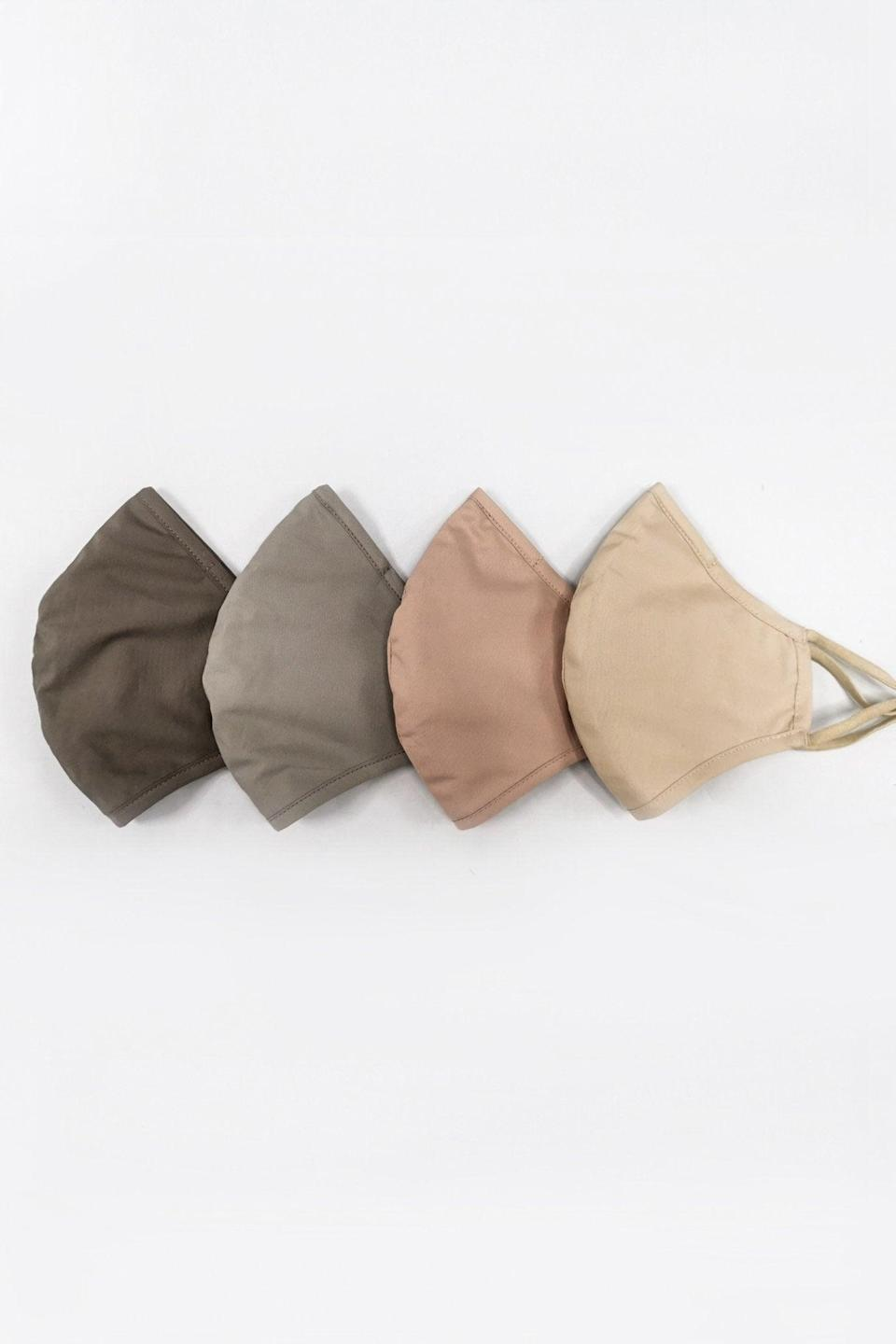 """<h3><a href=""""https://fave.co/3dlFX9f"""" rel=""""nofollow noopener"""" target=""""_blank"""" data-ylk=""""slk:Jonathan Simkhai Fabric Mask Pack"""" class=""""link rapid-noclick-resp"""">Jonathan Simkhai Fabric Mask Pack</a></h3> <br>Offered in packs of four containing a spectrum of neutral colors that reflect the sleek Jonathan Simkhai design codes, these masks from the designer label feature an optional pouch for removable filter use. For every pack purchased, Jonathan Simkhai will donate a civilian mask to local front-line essential workers in need of non-medical mask protection. <br><br><strong>Jonathan Simkhai</strong> Fabric Mask Pack, $, available at <a href=""""https://go.skimresources.com/?id=30283X879131&url=https%3A%2F%2Ffave.co%2F3dlFX9f"""" rel=""""nofollow noopener"""" target=""""_blank"""" data-ylk=""""slk:Jonathan Simkhai"""" class=""""link rapid-noclick-resp"""">Jonathan Simkhai</a><br>"""