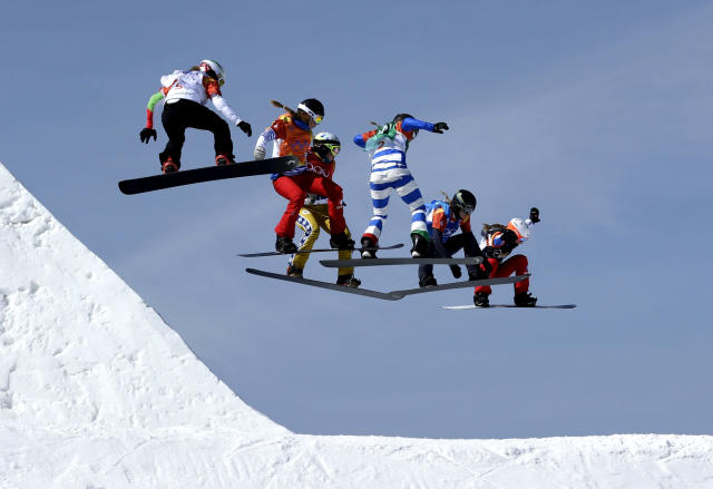 From left; Alexandra Jekova, of Bulgaria, Chloe Trespeuch, of France, Eva Samkova, of the Czech Republic, Michela Moioli, of Italy, Lindsey Jacobellis, of the United States, and De Sousa Mabileau Julia Pereira, of France, run the course during the women's snowboard cross finals at Phoenix Snow Park at the 2018 Winter Olympics. (AP)