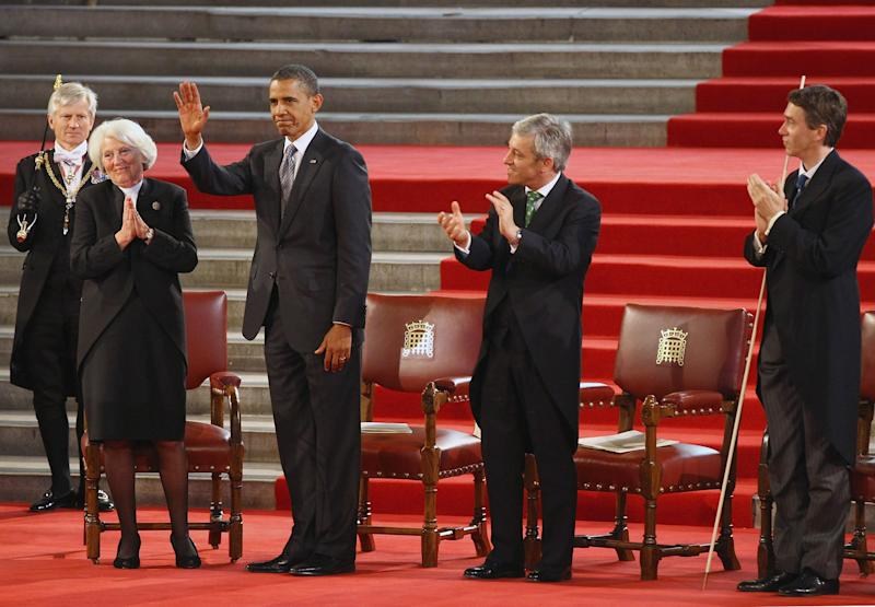 LONDON, ENGLAND - MAY 25: U.S. President Barack Obama receives applause after delivering his speech to members of Parliament in Westminster Hall on May 25, 2011 in London, England. The 44th President of the United States, Barack Obama, and First Lady Michelle are in the UK for a two day State Visit at the invitation of HM Queen Elizabeth II. Last night they attended a state banquet at Buckingham Palace and today's events include talks at Downing Street and the President will address both houses of Parliament at Westminster Hall. (Photo by Jeff J Mitchell - WPA Pool/Getty Images)
