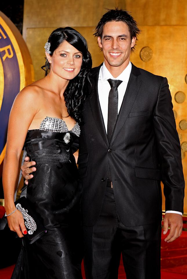 MELBOURNE, AUSTRALIA - FEBRUARY 15:  Mitchell Johnson and wife Jessica Bratich arrive at the 2010 Allan Border Medal at Crown Casino on February 15, 2010 in Melbourne, Australia.  (Photo by Lucas Dawson/Getty Images)