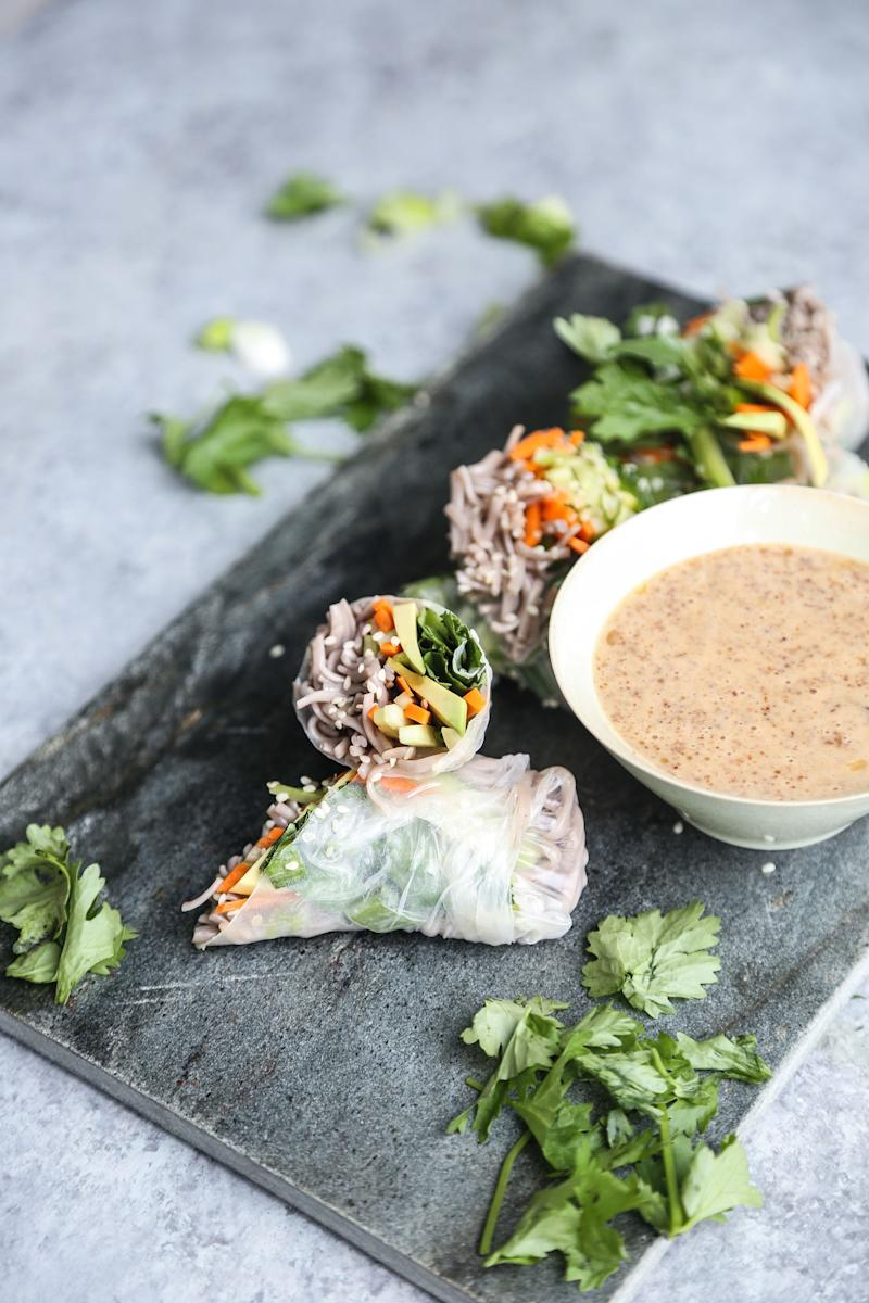 """<strong>Get the <a href=""""https://feedmephoebe.com/soba-noodle-spring-rolls-recipe/"""" target=""""_blank"""">Fresh Sesame Soba Spring Rolls with Almond Butter Dipping Sauce recipe</a>from Feed Me Phoebe</strong>"""