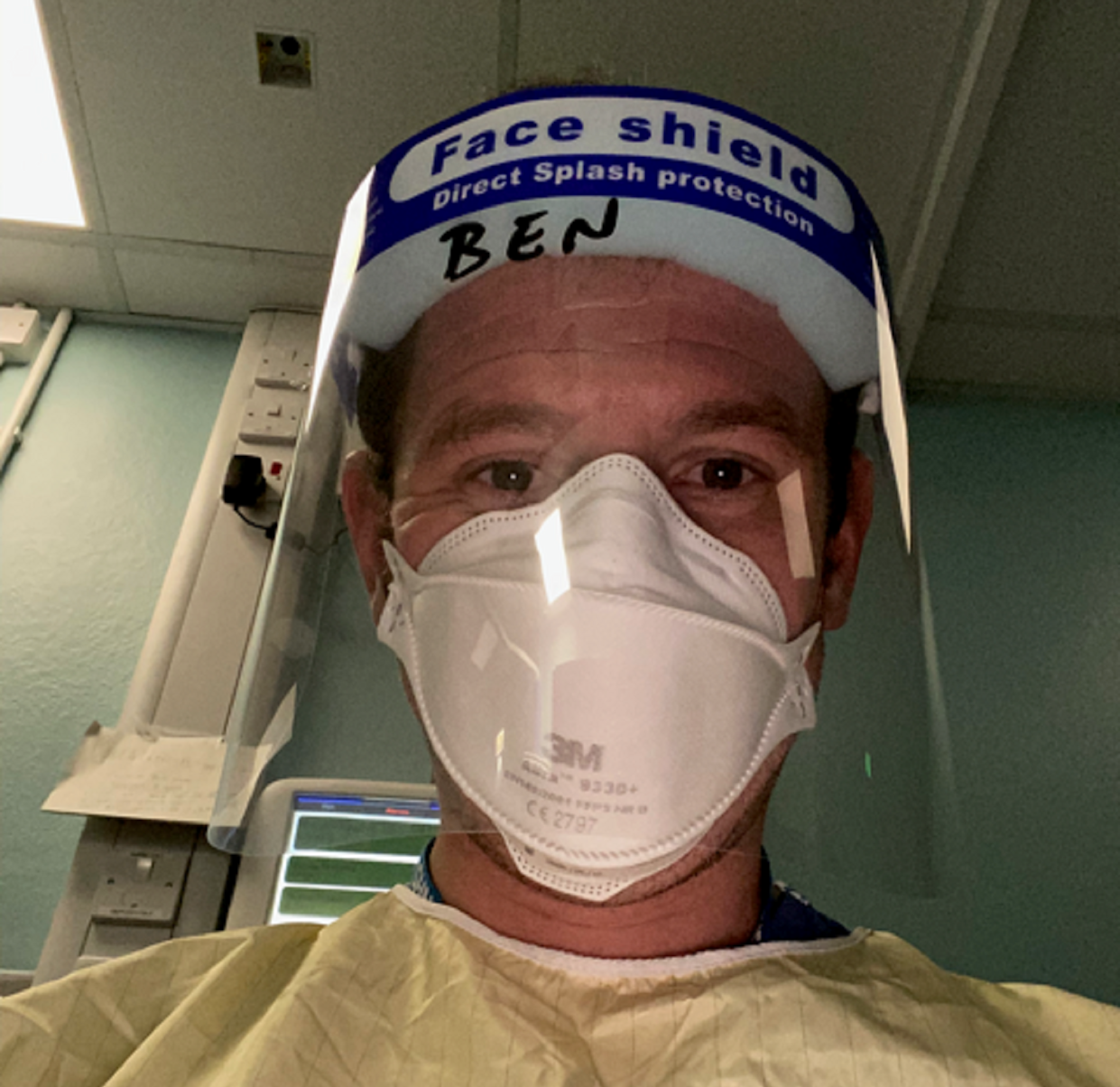 Dr Ben Atwood in full PPE (Ben Atwood/PA)