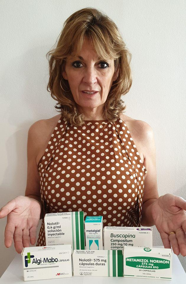 Cristina Garcia del Campo with the metamizole medication she says she managed to buy from Spanish pharmacies without prescription or questioning