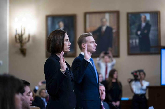 Fiona Hill, the former top Russia expert on the National Security Council, and David Holmes, an official at the U.S. Embassy in Ukraine, testify before the impeachment hearings, Nov. 21, 2019. (Doug Mills/The New York Times)