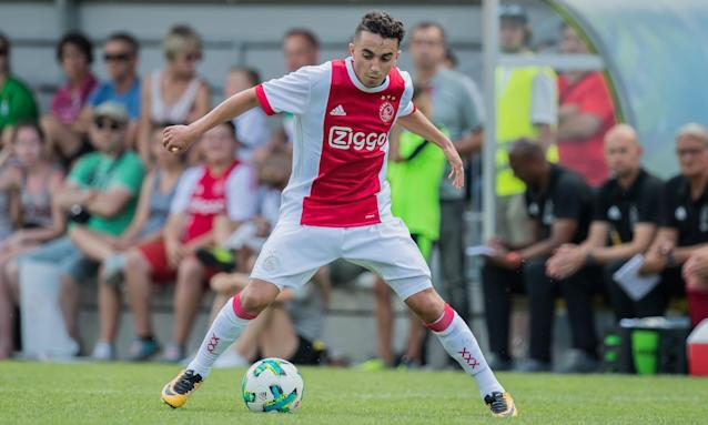 Abdelhak Nouri playing for Ajax during their friendly against Werder Bremen in Austria on 8 July. He later collapsed.