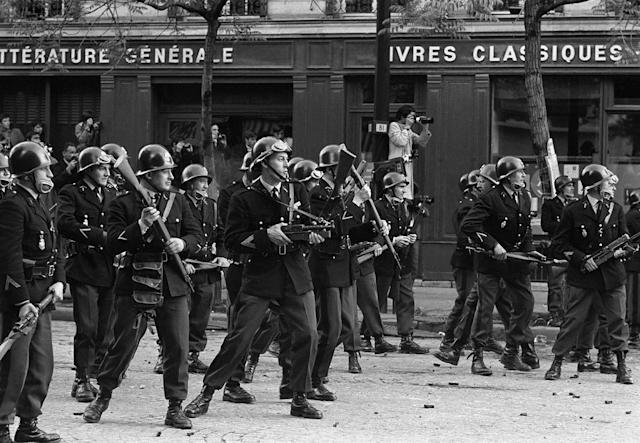 <p>Armed riot police prepare for confrontation with student protesters on the Boulevard Saint Germain, Paris, May 6, 1968. (Photo: Gökşin Sipahioğlu/SIPA) </p>