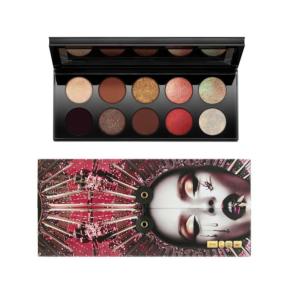 """<p>Biles typically has a lot of fun with her eye makeup, which is probably why it was nothing for her to invest in a heavy-hitting eyeshadow palette like the <span>Pat McGrath Labs Mothership V: Bronze Seduction Eyeshadow Palette</span> ($125). In her <strong>Vogue</strong> tutorial, she applies the shade """"Bronze Blaze"""" all over her eyelids. I switched things up a bit and gave myself a base using the dark brown """"Disobedient"""" before adding the same bronze color that Biles used to half of my lids. </p> <p>My favorite thing about this palette is that the colors are so pigmented, and a little product - especially in the case of the metallic shades - really goes a long way.</p>"""