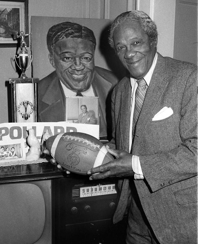 FILE - This is a Feb. 12, 1975, file photo showing Fritz Pollard at his home in New Rochelle, N.Y. In 1921, Fritz Pollard became the first African-American head coach in profession football. (AP Photo/File)