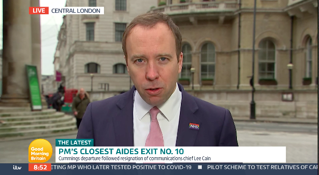 Matt Hancock appeared on GMB on Monday after a 201-day Government boycott. (ITV)