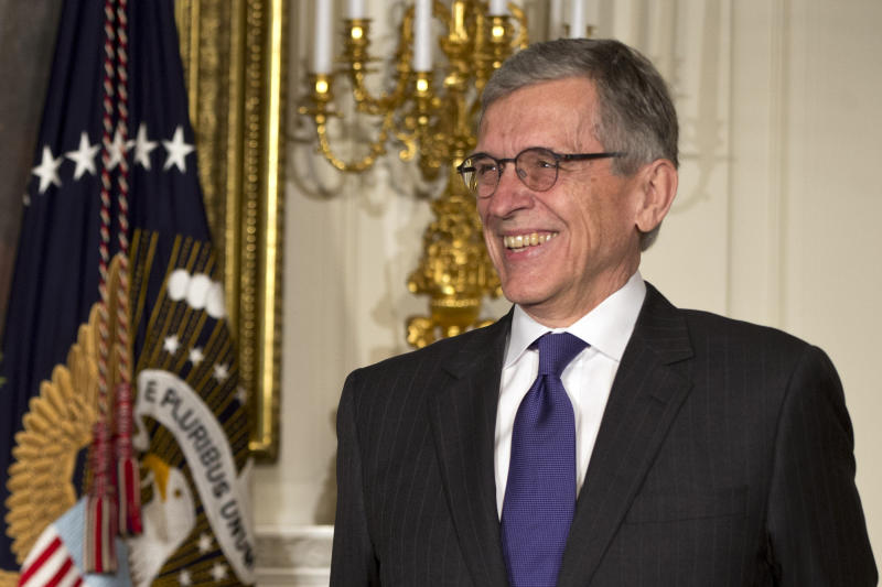 President Barack Obama's nominee for Federal Housing Finance Authority (FHFA), Tom Wheeler, listens during the announcement of his nomination, Wednesday, May 1, 2013, in the State Dining Room of the White House in Washington. (AP Photo/Jacquelyn Martin)