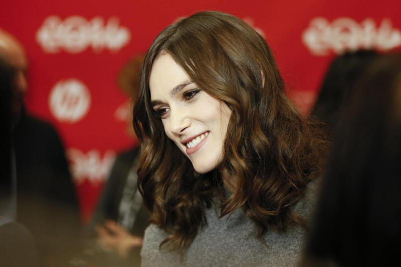 "Cast member Keira Knightley smiles as she is interviewed at the premiere of the film ""Laggies"" during the 2014 Sundance Film Festival, on Friday, Jan. 17, 2014, in Park City, Utah. (Photo by Danny Moloshok/Invision/AP)"