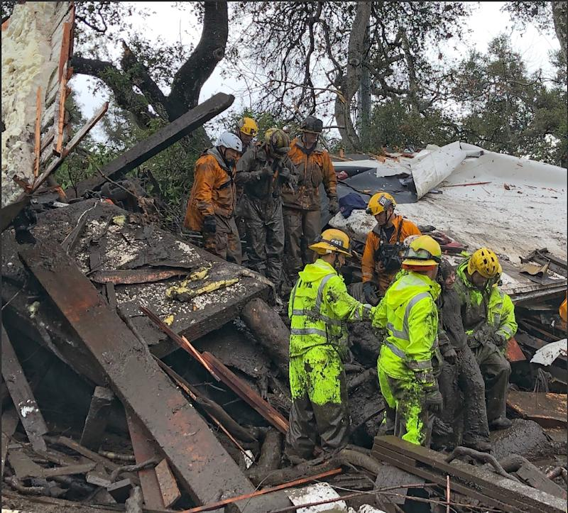 Californian firefighters successfully rescued a 14 yr old girl on January 9 after she was trapped for hours inside a destroyed home in Montecito