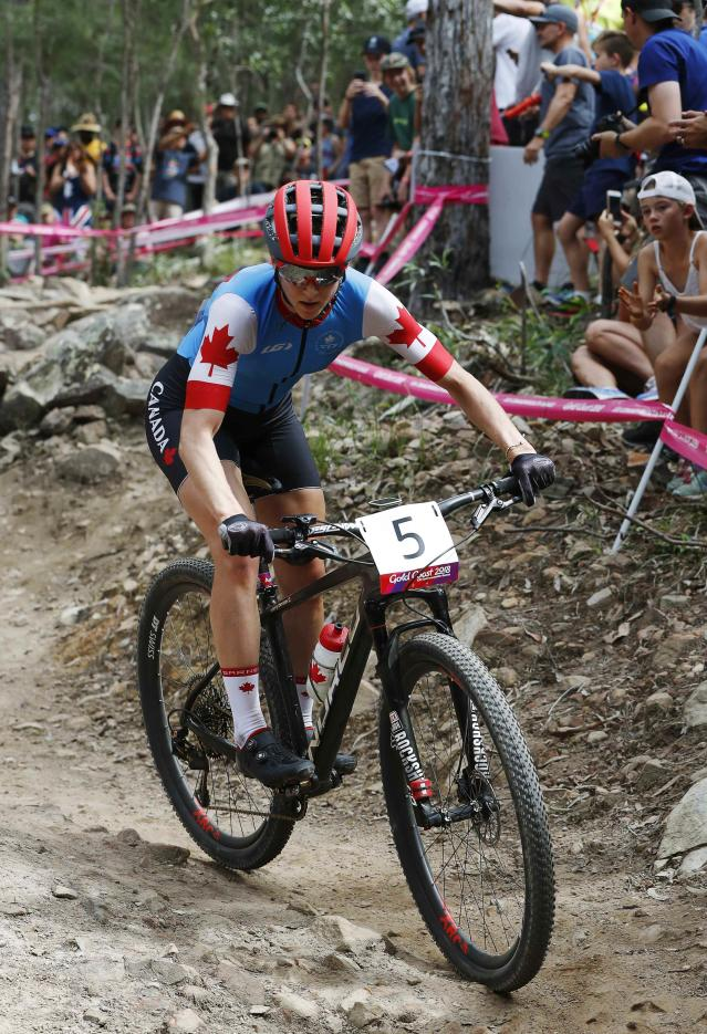 Cycling Cross-Country - Gold Coast 2018 Commonwealth Games - Mountain Bike - Women's Cross-Country - Nerang Mountain Bike Trails - Gold Coast, Australia - April 12, 2018. Haley Smith of Canada. REUTERS/Paul Childs