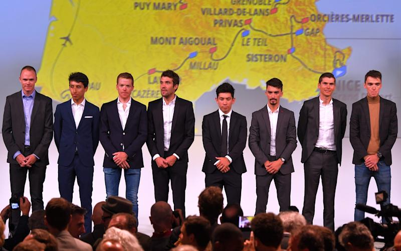 Chris Froome (left to right), Egan Bernal, Steven Kruijswijk, Thibaut Piniot, Caleb Ewan, Julian Alaphilippe, Warren Barguil and Romain Bardet at the route presentation in Paris - 2019 Getty Images
