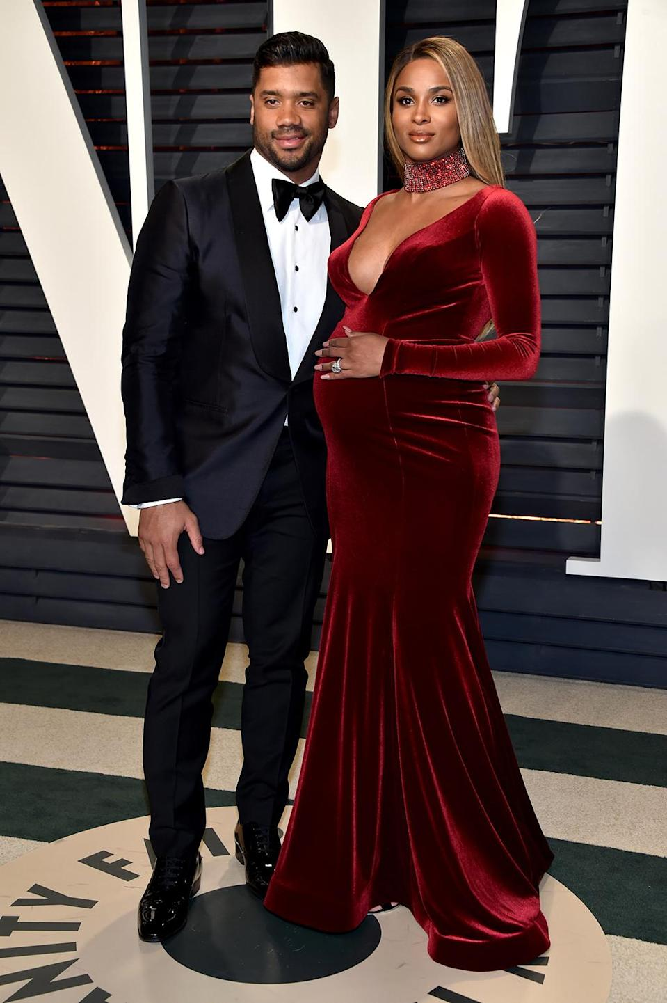 <p>NFL player Russell Wilson and singer Ciara attend the 2017 Vanity Fair Oscar Party hosted by Graydon Carter at Wallis Annenberg Center for the Performing Arts on February 26, 2017 in Beverly Hills, California. (Photo by Pascal Le Segretain/Getty Images) </p>