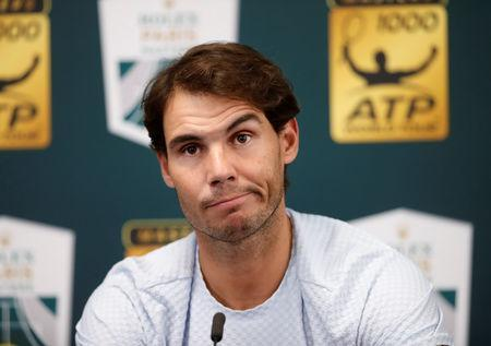 FILE PHOTO: Tennis - ATP 1000 - Paris Masters - AccorHotels Arena, Paris, France - October 31, 2018 Spain's Rafael Nadal during a press conference after withdrawing from the tournament REUTERS/Gonzalo Fuentes