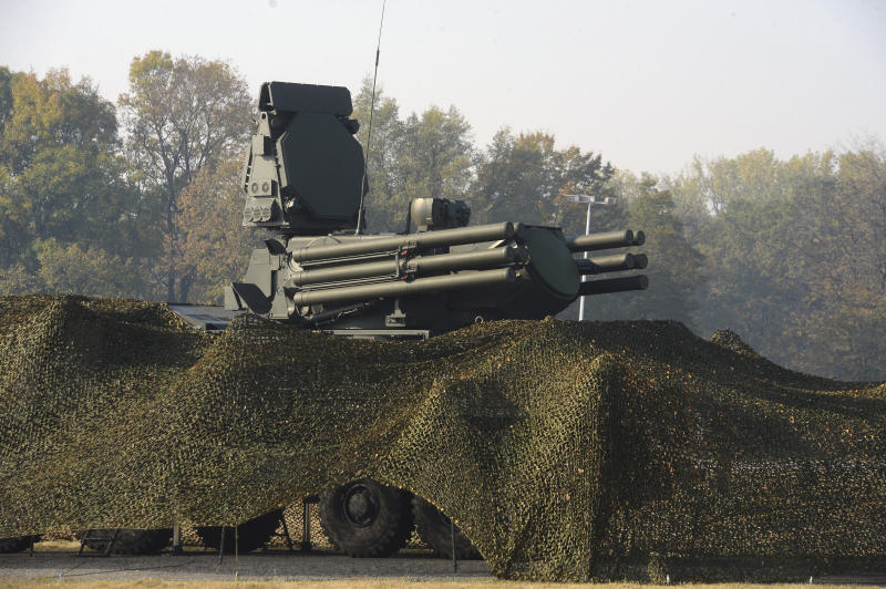 """FILE - In this Friday, Oct. 25. 2019 file photo provided by the Serbian Presidential Press Service, Russian air defense system Pantsir S is displayed during joint air defense drills at the military airport Batajnica, near Belgrade, Serbia. Russia will deliver a sophisticated anti-aircraft missile system to Serbia even though the U.S. has warned of possible sanctions against the Balkan country in the event of such purchases. Russia's state TASS news agency said Wednesday Nov. 6, 2019 that the Pantsir-S system will be delivered to Serbia """"in the next few months in accordance with the signed contract."""" (Serbian Presidential Press Service via AP, File)"""