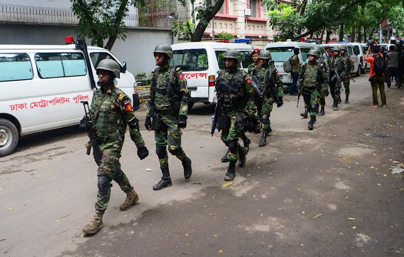 Bangladeshi military commandos pictured after a bloody siege at a Dhaka restaurant ended with 20 hostages killed (AFP Photo/)