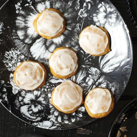 """<p>These soft, lightly spiced cake-like cookies are studded with minced candied ginger and topped with a buttery sugar glaze.</p><p><a href=""""https://www.foodandwine.com/recipes/pumpkin-cookies"""">GO TO RECIPE</a></p>"""