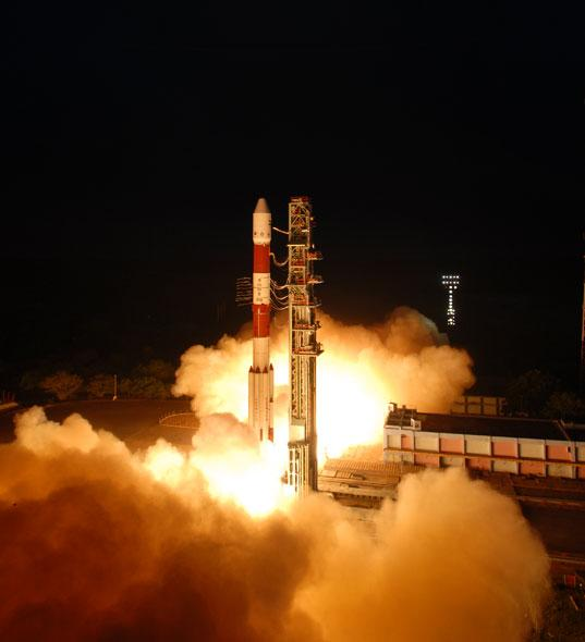 RISAT-1 blasts off on six motors, each holding 12 tons of solid propellant.At 1858 kg, it's the heaviest satellite India has ever launched.