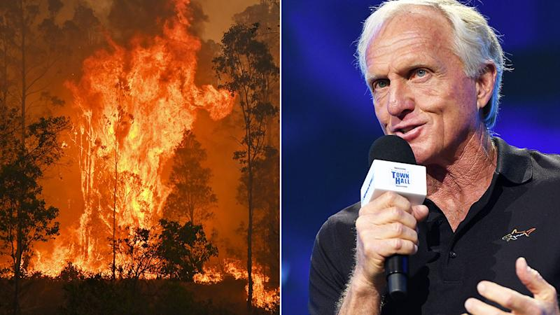 Pictured here, Greg Norman says the bushfire crisis cuts to his core.