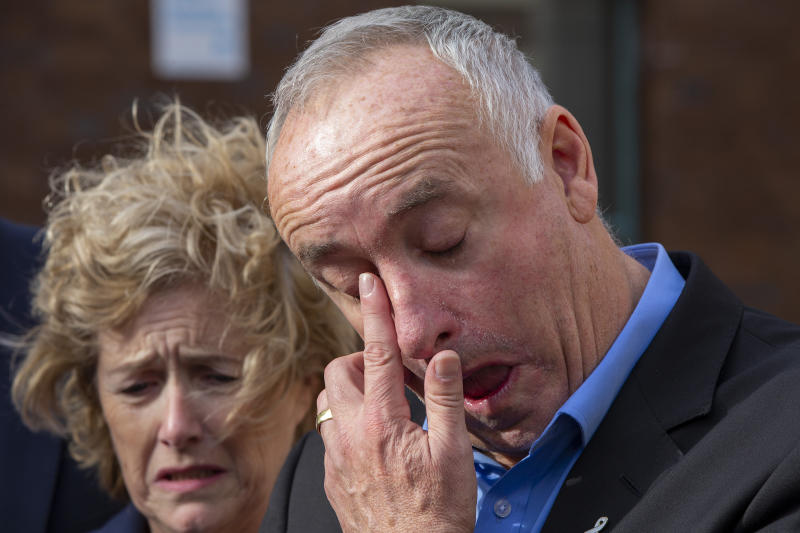 AUCKLAND, NEW ZEALAND - NOVEMBER 22: The parents of Grace Millane, David and Gillian Millane speak to media outside Auckland High Court on November 22, 2019 in Auckland, New Zealand. A 27 year old man has been found guilty of the murder of British backpacker Grace Millane, whose body was found in bush in West Auckland's Waitakere Ranges on 9 December 2018. Jurors at Auckland's High Court took about four hours to convict him of her murder. He will be sentenced at a later date. A suppression order remains in place, prohibiting the publication of the accused's name or picture. (Photo by Dave Rowland/Getty Images)