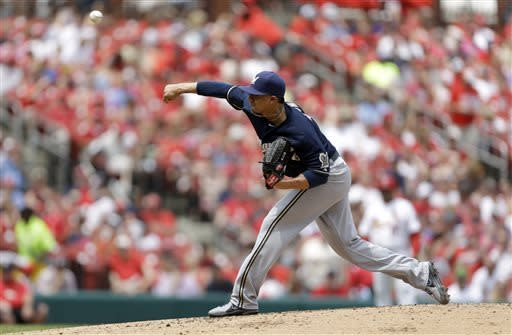 Milwaukee Brewers starting pitcher Kyle Lohse throws during the second inning of the MLB National League baseball game against the St. Louis Cardinals Sunday, May 19, 2013, in St. Louis. (AP Photo/Jeff Roberson)