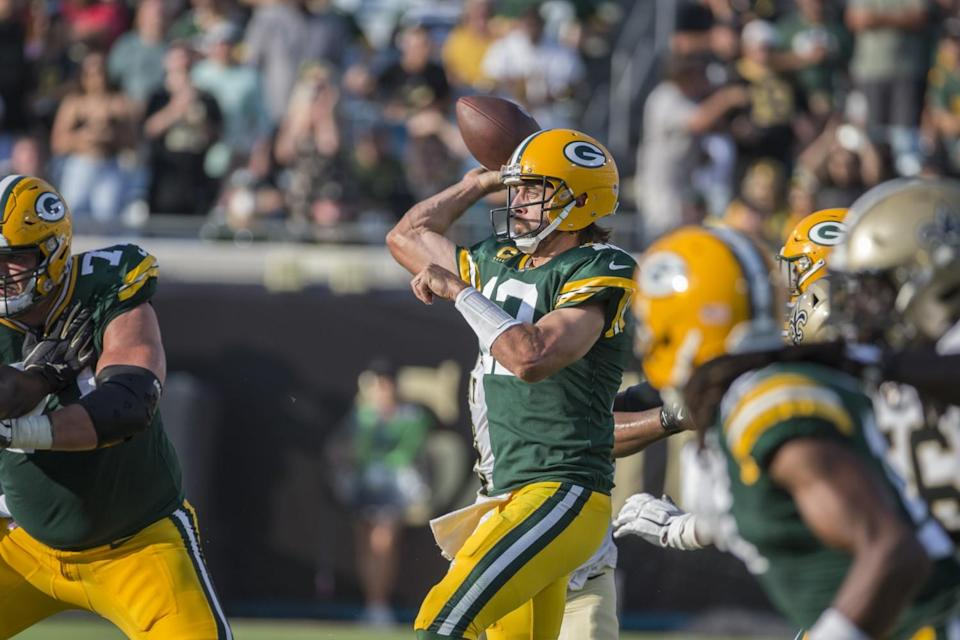 Green Bay Packers quarterback Aaron Rodgers throws from the pocket.