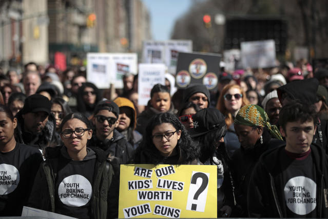 <p>Protestors attend the March For Our Lives just north of Columbus Circle, March 24, 2018 in New York City. (Drew Angerer/Getty Images) </p>