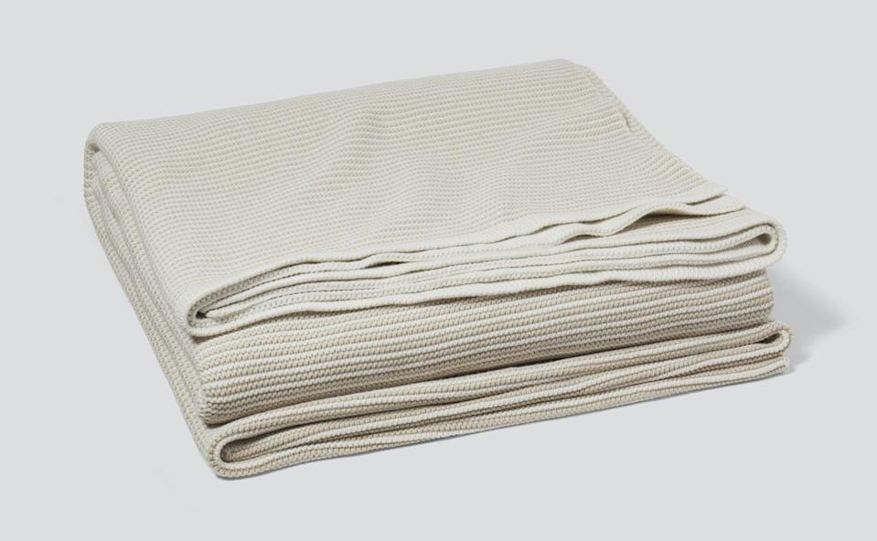 """<p>""""In the spirit of cozy season, I've been on the lookout for a new throw blanket. I love the simplicity of this <span>Casper Striped Cotton Throw Blanket</span> ($40, originally $79). It's chic style and classic soft feeling are a choice you can just never go wrong with."""" - KJ</p>"""