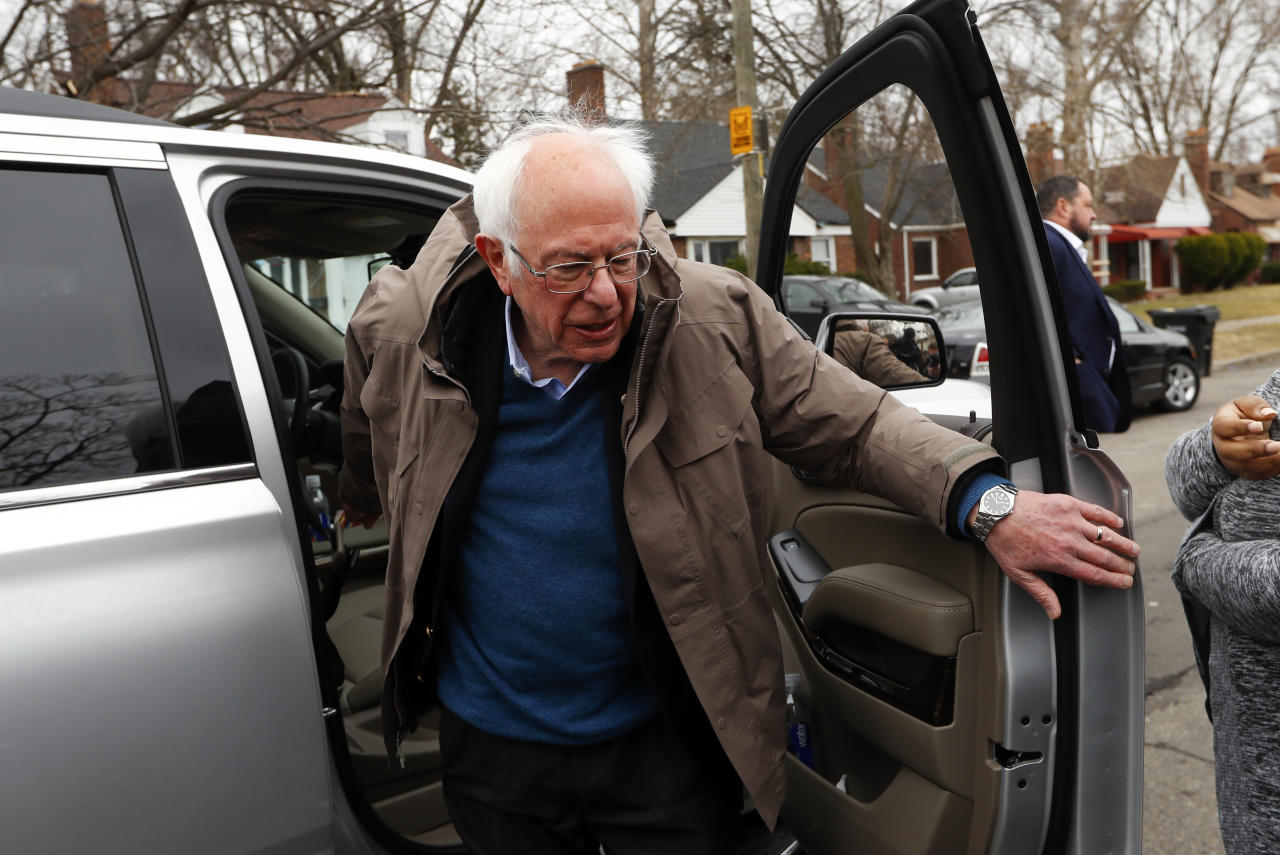 Democratic presidential candidate Sen. Bernie Sanders, I-Vt., visits outside a polling location at Warren E. Bow Elementary School in Detroit, Tuesday, March 10, 2020. (AP Photo/Paul Sancya)
