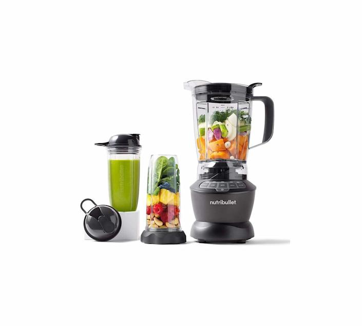 """<p><strong>NutriBullet</strong></p><p>amazon.com</p><p><strong>$136.87</strong></p><p><a href=""""https://www.amazon.com/dp/B07VNN6SMD?tag=syn-yahoo-20&ascsubtag=%5Bartid%7C10060.g.37002009%5Bsrc%7Cyahoo-us"""" rel=""""nofollow noopener"""" target=""""_blank"""" data-ylk=""""slk:Shop Now"""" class=""""link rapid-noclick-resp"""">Shop Now</a></p><p>This blender delivers excellent power, stability, and versatility for the price. The set comes with a full-size pitcher and smaller 32-ounce and 24-ounce cups; both snap on quickly and are easy to clean. It's not the quietest option, but its blades whip through tough greens and frozen fruit for silky-as-you-want-them smoothies and sauces. Suction cups on the base keep the blender in place even when you're crushing ice.</p>"""