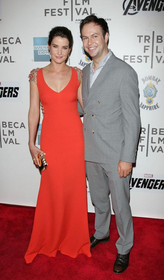 """NEW YORK, NY - APRIL 28: Actors Cobie Smulders and Taran Killam attend the """"Marvel's The Avengers"""" premiere during the closing night of the 2012 Tribeca Film Festival at BMCC Tribeca PAC on April 28, 2012 in New York City. (Photo by Jim Spellman/WireImage)"""