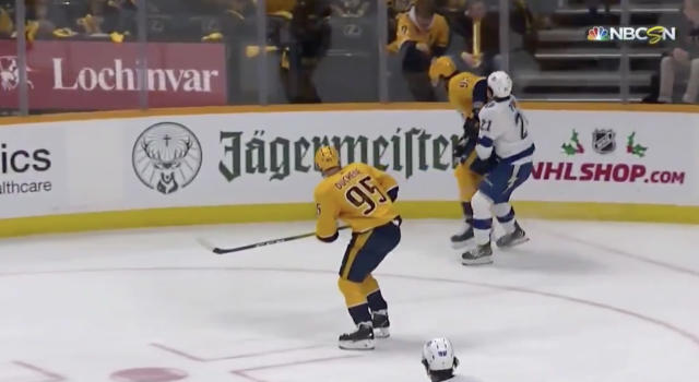 Whether it was accidental or not, Ryan Johansen of the Nashville Predators left Brayden Point of the Tampa Bay Lightning bloodied in the second period on Tuesday. (Twitter//@BradyTrett)