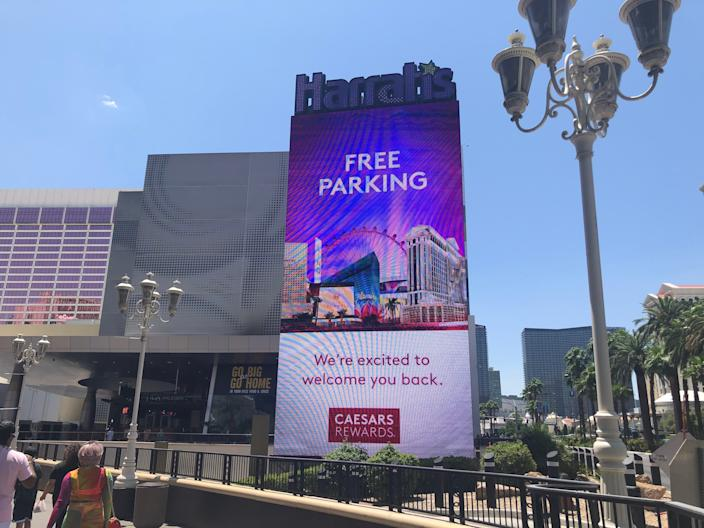 Harrah's touts free parking, a step many hotel-casinos in Las Vegas are taking as they reopen after coronavirus closures.