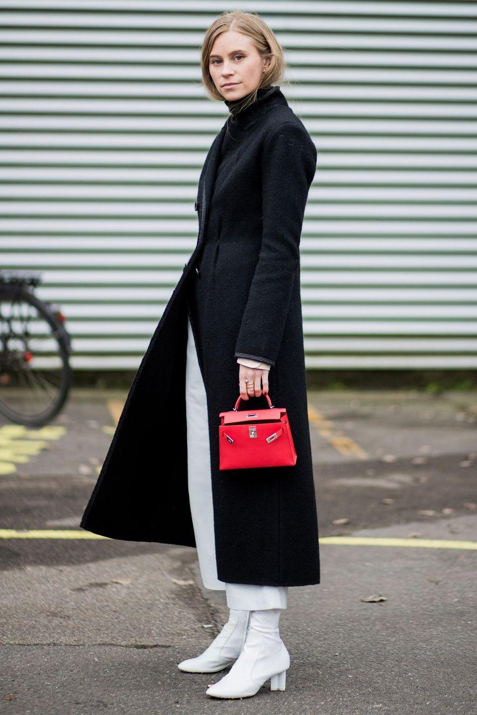 <p>Team white boots with white trousers for an undeniably effortless and minimal look. A simple black wool coat will accentuate this style even further.</p>