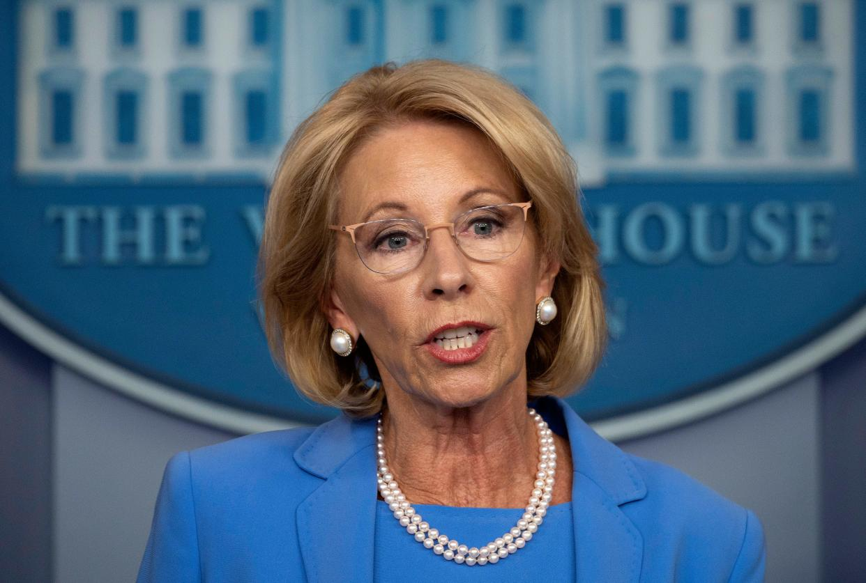 US Secretary of Education Betsy Devos speaks during the daily briefing on the novel coronavirus, COVID-19, in the Brady Briefing Room at the White House on March 27, 2020, in Washington, DC. (Photo by JIM WATSON / AFP) (Photo by JIM WATSON/AFP via Getty Images)