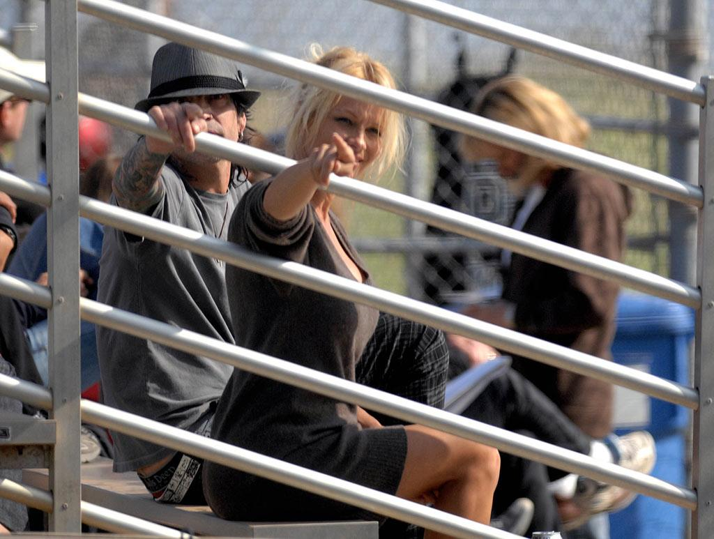 "Meanwhile, exes Pamela Anderson and Tommy Lee were seen attending their son's baseball game together on Tuesday. Whittle/<a href=""http://www.splashnewsonline.com"" target=""new"">Splash News</a> - May 6, 2008"