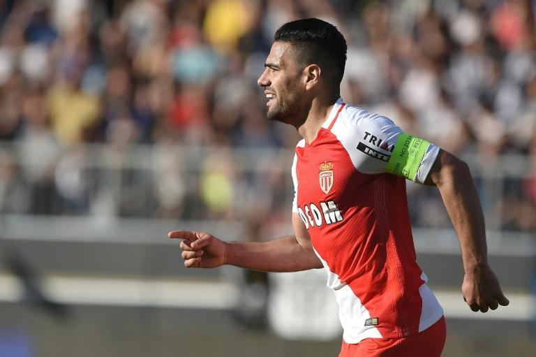 Monaco's Radamel Falcao celebrates after scoring a goal against Angers on April 8, 2017, at the Raymond Kopa Stadium in Angers, western France