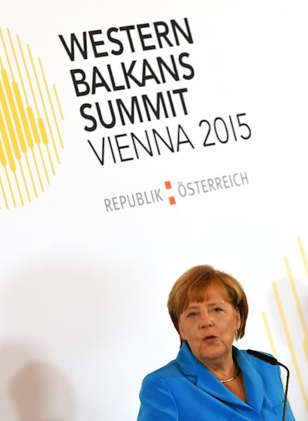 German Chancellor Angela Merkel and Balkan leaders are meeting in Vienna to discuss how to tackle the migration crisis (AFP Photo/Joe Klamar)
