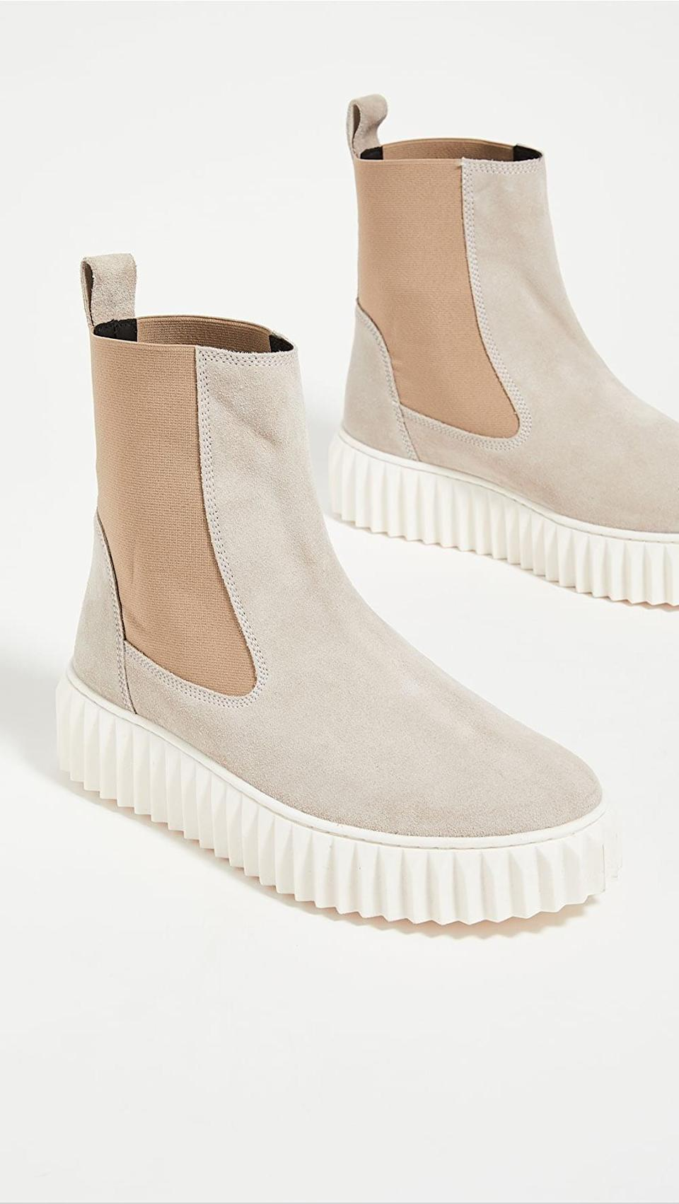 <p>We love the light, neutral tones of these <span>Voile Blanche Beth Chelsea Boots</span> ($235).</p>