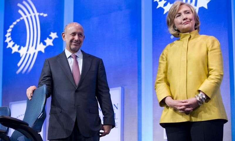 Hillary Clinton with Lloyd Blankfein, CEO of Goldman Sachs, which has paid her for speeches on several occasions.