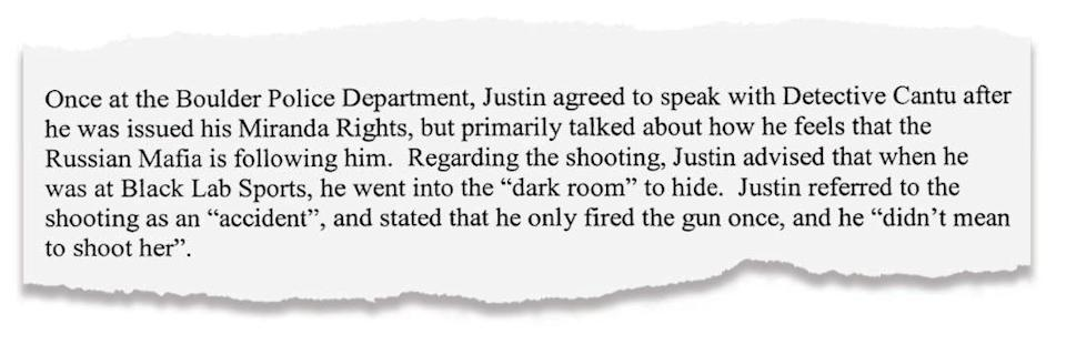 An excerpt from the arrest affidavit submitted by Boulder police.