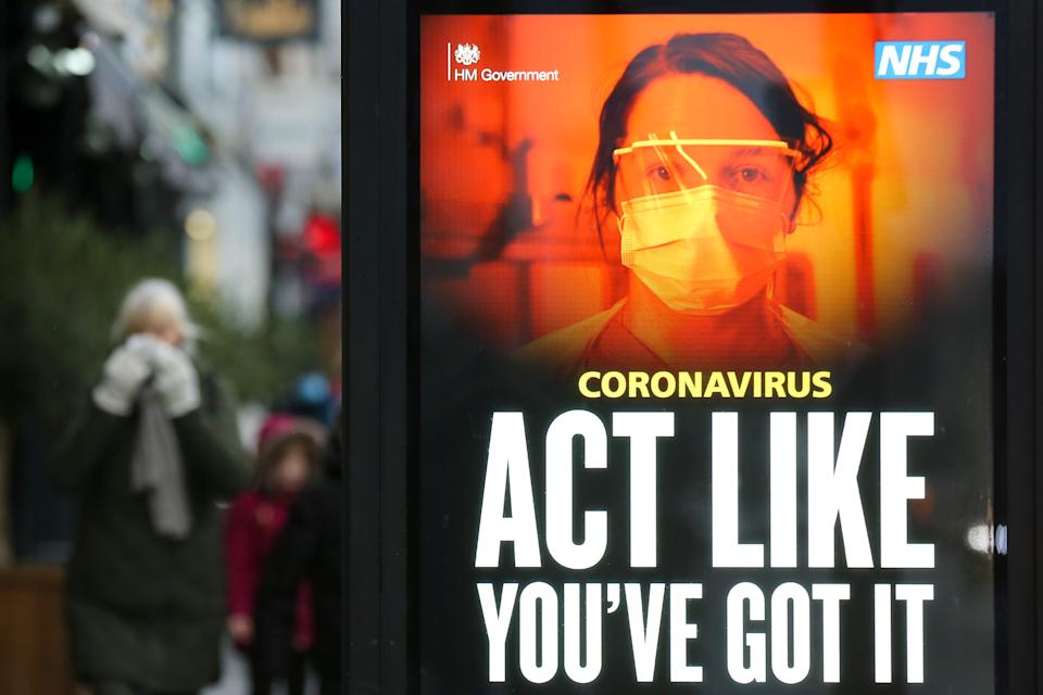 The 'Act Like You've Got It' coronavirus campaign advert in London. (Photo by Dinendra Haria / SOPA Images/Sipa USA)