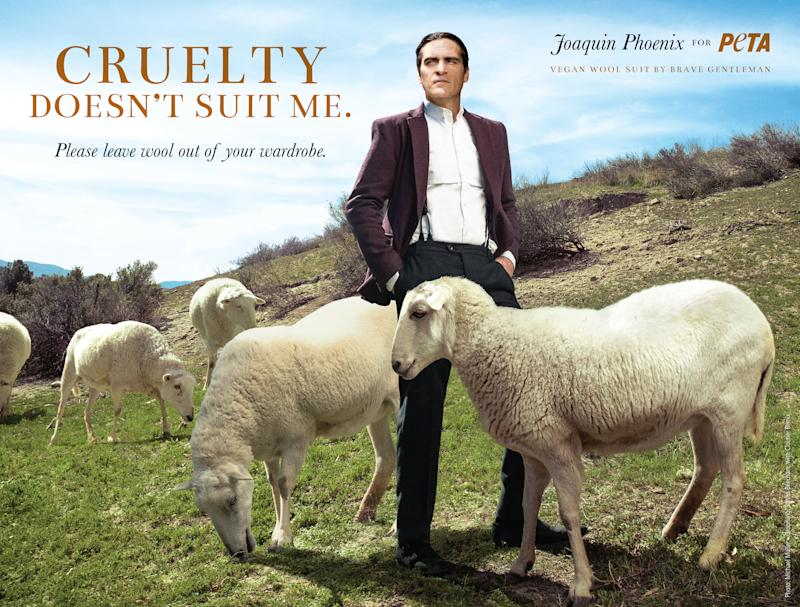 Joaquin Phoenix Says No to Wool Suits for PETA Campaign