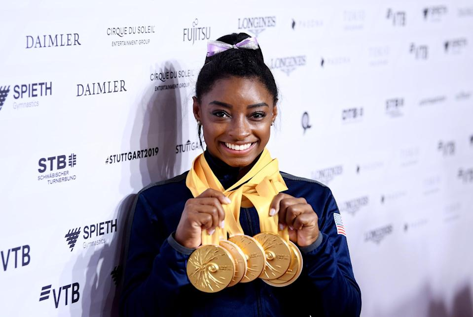 """<ul> <li><strong>On <a href=""""http://ftw.usatoday.com/2016/08/first-simone-biles-rio-olympics-all-around-gold-phelps-bolt"""" class=""""link rapid-noclick-resp"""" rel=""""nofollow noopener"""" target=""""_blank"""" data-ylk=""""slk:not wanting to be compared to men athletes"""">not wanting to be compared to men athletes</a>:</strong> """"I'm not the next Usain Bolt or <a class=""""link rapid-noclick-resp"""" href=""""https://www.popsugar.com/Michael-Phelps"""" rel=""""nofollow noopener"""" target=""""_blank"""" data-ylk=""""slk:Michael Phelps"""">Michael Phelps</a>. I'm the first Simone Biles.""""</li> <li><strong>On <a href=""""http://www.usatoday.com/story/sports/columnist/nancy-armour/2019/10/12/simone-biles-world-championships-gymnastics-titles-tokyo-olympics/3945703002/"""" class=""""link rapid-noclick-resp"""" rel=""""nofollow noopener"""" target=""""_blank"""" data-ylk=""""slk:why more women should embrace their greatness"""">why more women should embrace their greatness</a>:</strong> """"It's important to teach our female youth that it's OK to say, 'Yes, I am good at this,' and you don't hold back. You only see the men doing it. And they're praised for it and the women are looked down upon for it. But I feel like it's good [to do] because once you realize you're confident and good at it, then you're even better at what you do.""""</li> <li><strong>On <a href=""""http://www.vogue.com/article/simone-biles-cover-august-2020"""" class=""""link rapid-noclick-resp"""" rel=""""nofollow noopener"""" target=""""_blank"""" data-ylk=""""slk:shutting out the haters"""">shutting out the haters</a>:</strong> """"They focused on my hair. They focused on how big my legs were. But God made me this way, and I feel like if I didn't have these legs or these calves, I wouldn't be able to tumble as high as I can and have all of these moves named after me.""""</li> <li><strong>On <a href=""""http://www.usatoday.com/story/sports/columnist/nancy-armour/2019/10/12/simone-biles-world-championships-gymnastics-titles-tokyo-olympics/3945703002/"""" class=""""link rapid-noclick-resp"""" rel=""""nofollow noopener"""" target=""""_blank"""" data-y"""