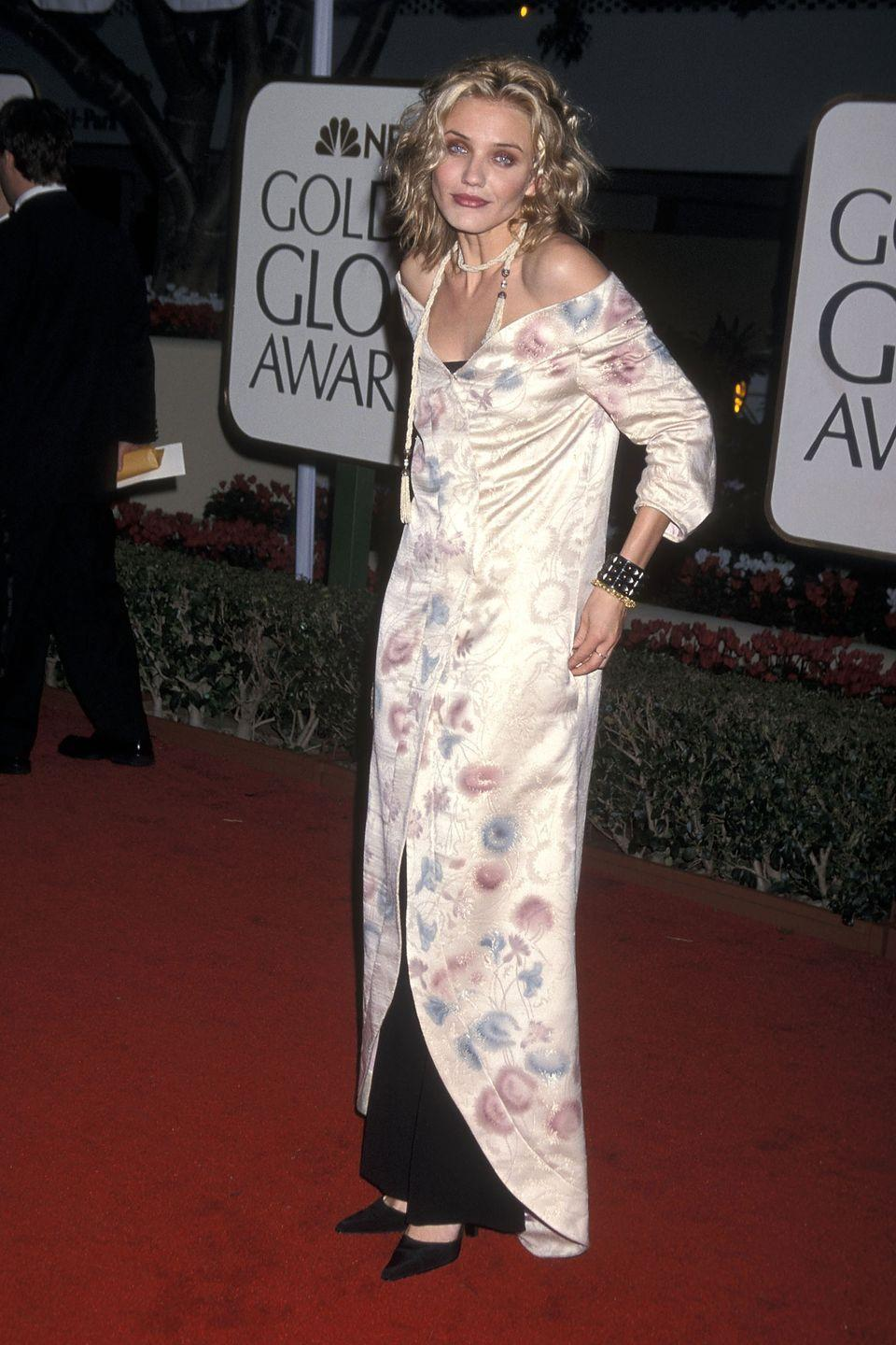 <p>A kimono-inspired dress layered over black pants was unique for 1999.</p>
